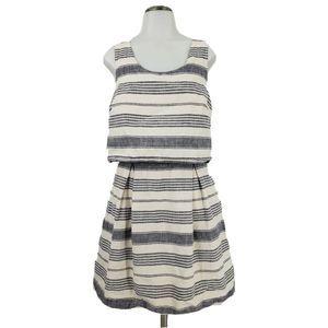 Madewell Striped Overlay Linen Blend Dress